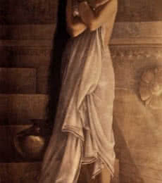Figurative Oil Art Painting title At The Bath by artist Raja Ravi Varma Reproduction