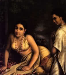 Figurative Oil Art Painting title Damayanthi by artist Raja Ravi Varma Reproduction