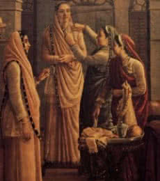 Figurative Oil Art Painting title Decking The Bride by artist Raja Ravi Varma Reproduction