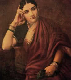 Figurative Oil Art Painting title Expectation by artist Raja Ravi Varma Reproduction