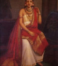Raja Ravi Varma Reproduction | Oil Painting title Feigned Arrogance on Canvas | Artist Raja Ravi Varma Reproduction Gallery | ArtZolo.com