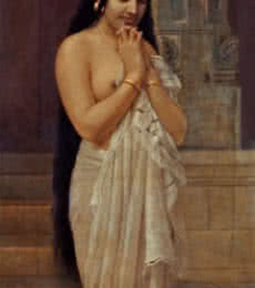 Figurative Oil Art Painting title 'Fresh From Bath' by artist Raja Ravi Varma Reproduction