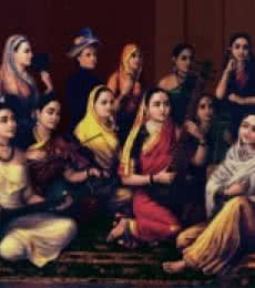 Figurative Oil Art Painting title Galaxy Of Musicians by artist Raja Ravi Varma Reproduction