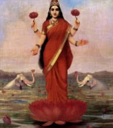 Figurative Oil Art Painting title 'Goddess Lakshmi' by artist Raja Ravi Varma Reproduction