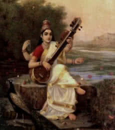 Raja Ravi Varma Reproduction | Oil Painting title Goddess Saraswathi on Canvas | Artist Raja Ravi Varma Reproduction Gallery | ArtZolo.com