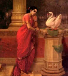 Figurative Oil Art Painting title Hamsadamayanthi by artist Raja Ravi Varma Reproduction