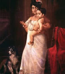 Figurative Oil Art Painting title Here Comes Papa by artist Raja Ravi Varma Reproduction