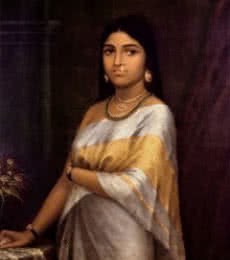 Figurative Oil Art Painting title 'Kerala Royal Lady' by artist Raja Ravi Varma Reproduction