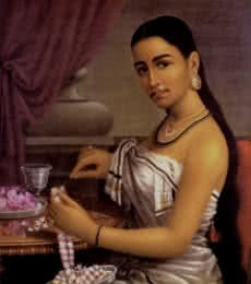 Lady Making Garland | Painting by artist Raja Ravi Verma Reproduction | oil | Canvas