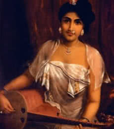 Figurative Oil Art Painting title Lady Playing The Veena by artist Raja Ravi Varma Reproduction