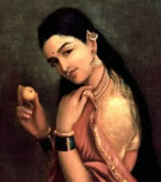 Raja Ravi Varma Reproduction | Oil Painting title Lady With Lemon on Canvas | Artist Raja Ravi Varma Reproduction Gallery | ArtZolo.com