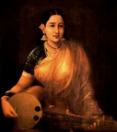 Figurative Oil Art Painting title 'Lady With Swarbat' by artist Raja Ravi Varma Reproduction