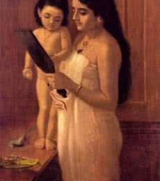 Looking Into The Mirror | Painting by artist Raja Ravi Varma Reproduction | oil | Canvas