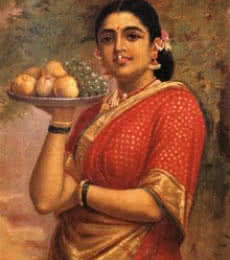 Figurative Oil Art Painting title 'Maharashtrian Lady' by artist Raja Ravi Varma Reproduction