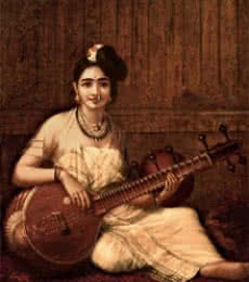 Figurative Oil Art Painting title 'Malabar Lady With Veena' by artist Raja Ravi Varma Reproduction