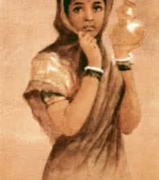 Figurative Oil Art Painting title Milkmaid by artist Raja Ravi Varma Reproduction