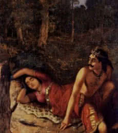 Figurative Oil Art Painting title Nala And Damayanthi by artist Raja Ravi Varma Reproduction