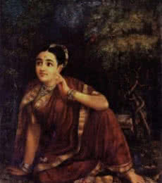 Radha Waiting For Krishna In Kunjavan | Painting by artist Raja Ravi Verma Reproduction | oil | Canvas