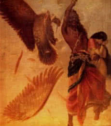 Figurative Oil Art Painting title 'Ravana Abducting Sita' by artist Raja Ravi Varma Reproduction