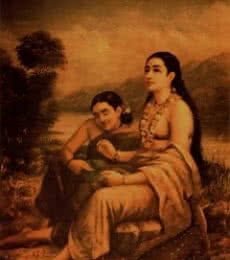 Shakumtalas Love Letter To Dushyanta | Painting by artist Raja Ravi Verma Reproduction | oil | Canvas