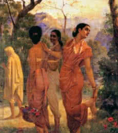 Figurative Oil Art Painting title Shakumthala Looks Of Love by artist Raja Ravi Varma Reproduction
