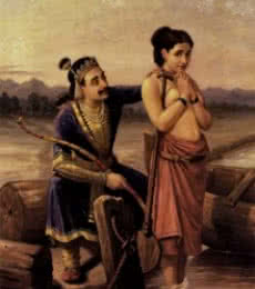 Shantanoo And Matsyagandha | Painting by artist Raja Ravi Verma Reproduction | oil | Canvas