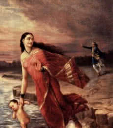 Figurative Oil Art Painting title 'Shanthanoo And Ganga' by artist Raja Ravi Varma Reproduction
