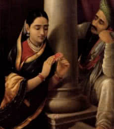 Figurative Oil Art Painting title 'Stolen Interview' by artist Raja Ravi Varma Reproduction