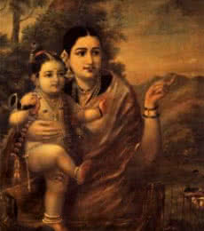 Yasoda Krishna | Painting by artist Raja Ravi Verma Reproduction | oil | Canvas