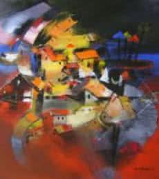 Birth Of Karna | Painting by artist Sunil Bambal | acrylic | Canvas