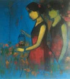 Flowery Path | Painting by artist Sachin Sagare | Acrylic | Canvas
