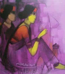 Figurative Acrylic Art Painting title 'Purple Gaze' by artist Sachin Sagare
