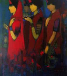 Figurative Acrylic Art Painting title Three Women by artist Sachin Sagare