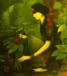 Sachin Sagare | Acrylic Painting title Woman With Plant on Canvas