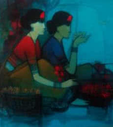 Women With Lotus | Painting by artist Sachin Sagare | acrylic | Canvas
