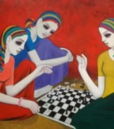 Figurative Acrylic Art Painting title 'Girls' by artist Anil Mahajan