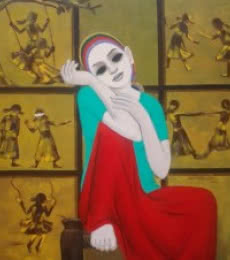 Figurative Acrylic Art Painting title Sweet Memories by artist Anil Mahajan