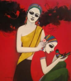Figurative Acrylic Art Painting title 'With Birds' by artist Anil Mahajan