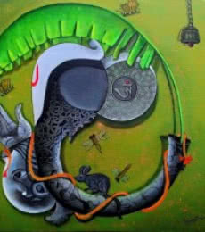 Anupam Pal | Acrylic Painting title Blossoming mind 3 on Canvas | Artist Anupam Pal Gallery | ArtZolo.com