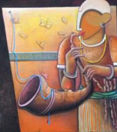 Anupam Pal | Acrylic Painting title Rhythm Devine 13 on Canvas | Artist Anupam Pal Gallery | ArtZolo.com
