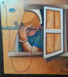 Anupam Pal | Acrylic Painting title Love on Canvas | Artist Anupam Pal Gallery | ArtZolo.com