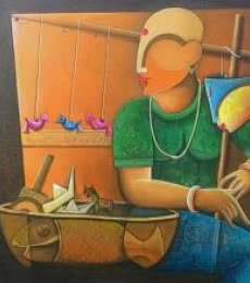 Figurative Acrylic Art Painting title 'Toyseller 2' by artist Anupam Pal