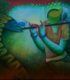 Tunes of devotion | Painting by artist Anupam Pal | acrylic | Canvas