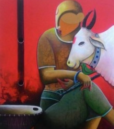 A beutifull conversation | Painting by artist Anupam | acrylic | Canvas