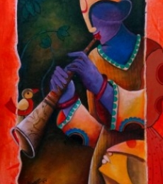 Figurative Acrylic Art Painting title 'Rhythm divine 3' by artist Anupam Pal