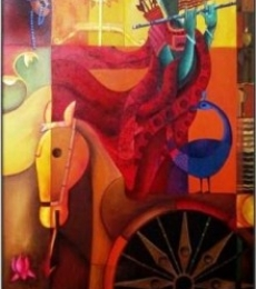 Parthasarthi-charector-of-arjuna | Painting by artist Anupam Pal | acrylic | Canvas