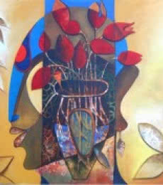 Figurative Acrylic Art Painting title A Blossoming Mind by artist Anupam Pal