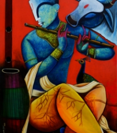 Religious Acrylic Art Painting title Tunes of nature by artist Anupam Pal
