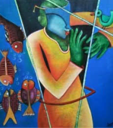 Figurative Acrylic Art Painting title 'Conversatation 6' by artist Anupam Pal