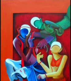 Figurative Acrylic Art Painting title 'Conversation2 By Anupam Pal' by artist Anupam Pal